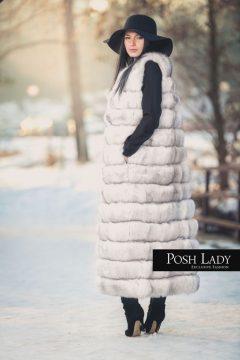 дълъг елек от полярна лисица