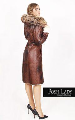 Палто с косъм от лисица