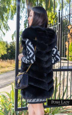 Елек от естествен косъм на черна лисица
