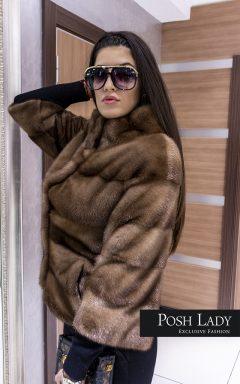 """Палто с яка от норка """"Cappuccino"""""""