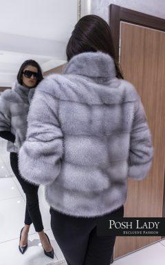 """Палто от норка с обемна яка """"Gray line"""""""