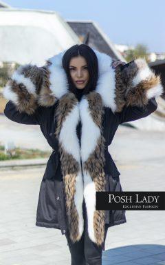 """Стилна парка с двуцветна декорация """"Luxury Vogue Fur"""""""