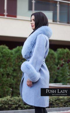 """Палто с голяма яка от лисица """"Blue Star Alpaca"""""""