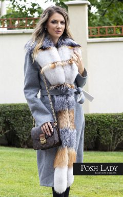 Палто от лама с яка на лисица Silver Desert