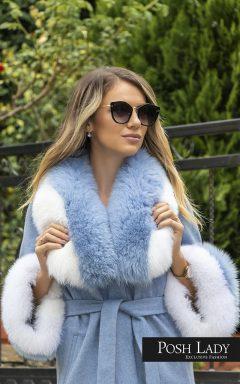 """Палто от лама с яка от лисица """"Blue Moon"""""""