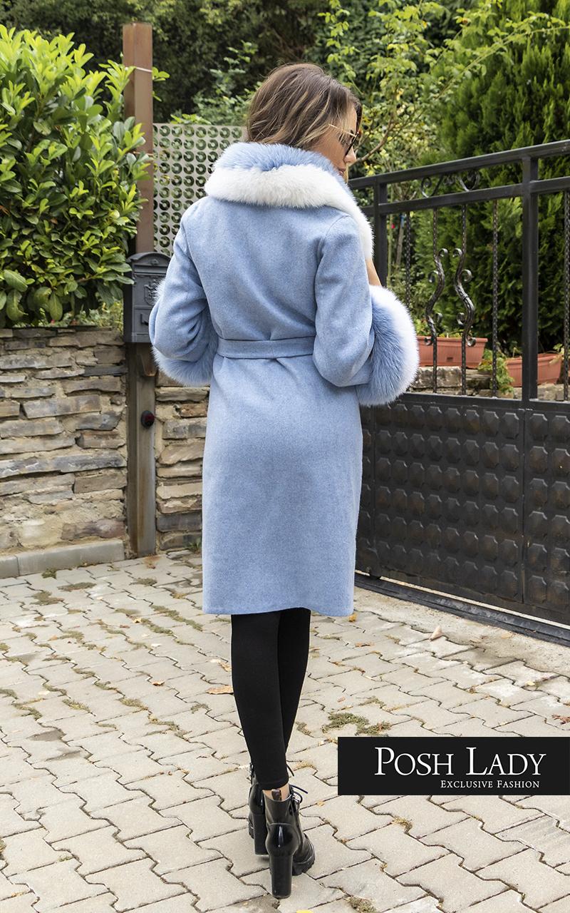Палто от лама с яка от лисица Blue Moon (4)