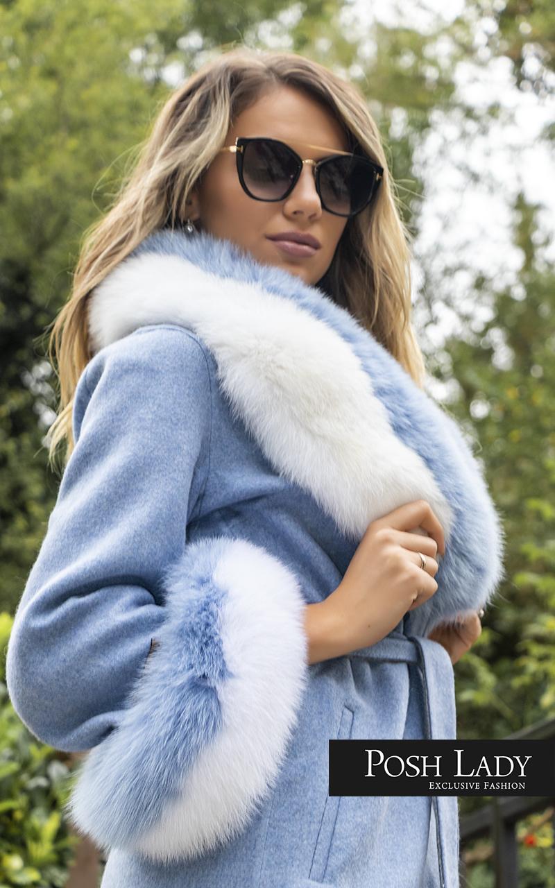 Палто от лама с яка от лисица Blue Moon (5)