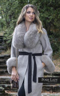 Палто от лама с яка от лисица Nude Moon