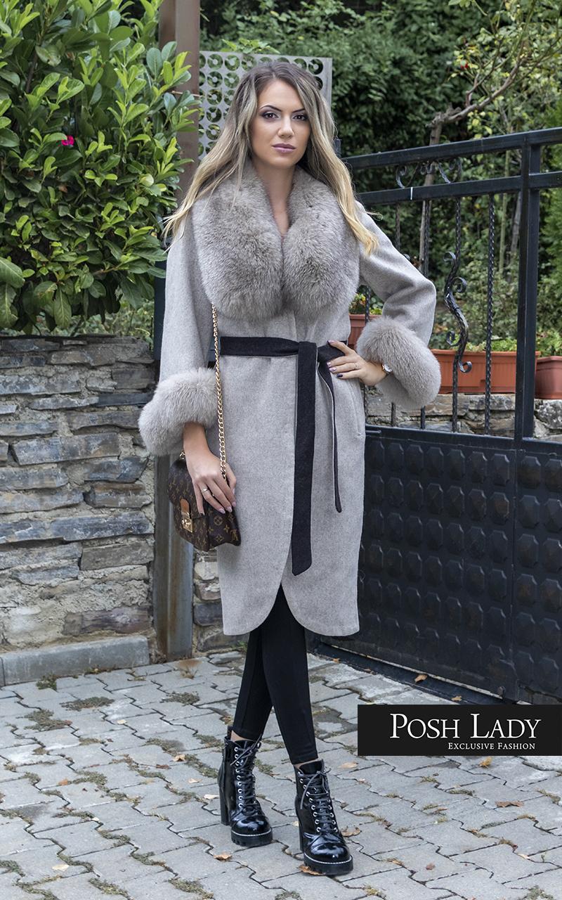 Палто от лама с яка от лисица Nude Moon (2)