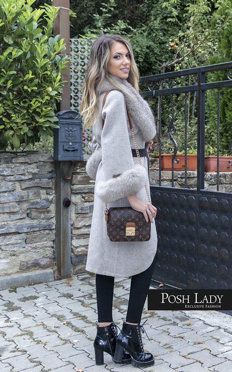 Палто от лама с яка от лисица Nude Moon (3)